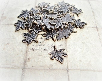 20 Antique Copper Leaf Charms Maple Leaves