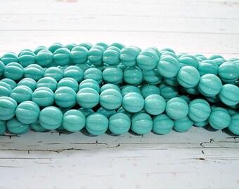 10 x 8mm Turquoise Blue Melon Round Czech Glass Beads