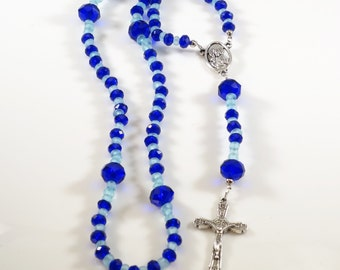 Handcrafted Catholic Saints Rosary Necklace Beaded Chain - Blue Crystals
