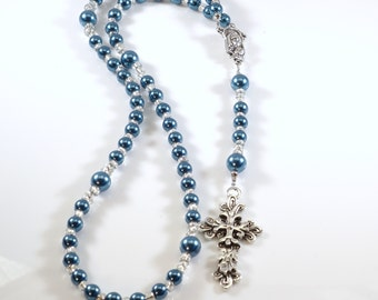 Handcrafted Catholic Saints Rosary Necklace Beaded Chain - Blue Pearls