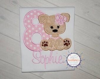Girls Personalized Embroidered Puppy Birthday Shirt- Girls Dog Birthday Shirt-Puppy Birthday Theme-Dog Birthday Theme