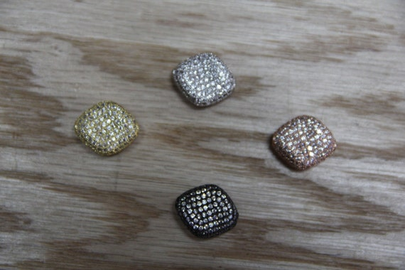 CZ Micro Pave 17x20mm  Twisted Chunky  Beads