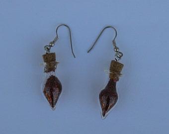 Red Glitter Ornament Earrings