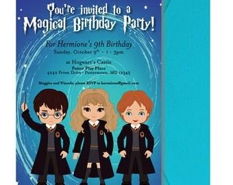 Harry Potter Birthday Party Invitation - Harry Potter Party Invitation - Cute Harry Potter Invite -  Wizard Kids Invite - Harry Hermione Ron