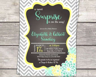 surprise gender neutral baby shower invitation in mint green, yellow and gray. Custom colors, printable digital files