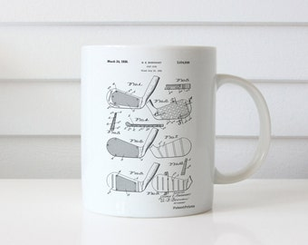 Golf Club Faces 1931 Patent Mug, Vintage Golf, Golf Gift, Sports Mug, Gifts for Dad, Office Mug, PP0004
