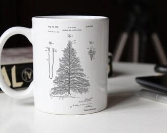 Christmas Tree Mug, Christmas Tree Patent, Christmas Tree Mug, Christmas Tree Mug, Christmas Decor, Christmas Blueprint Mug, PP0765