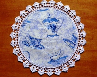 "Blue Teacup Fabric 13"" Doily With Crocheted Edge"
