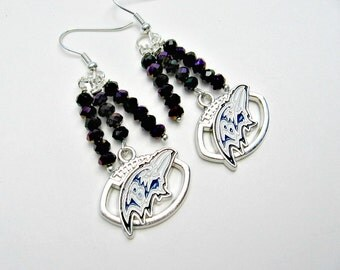 Baltimore Ravens Earrings, Baltimore Ravens Jewelry, Sports Jewelry, Baltimore Ravens Accessories, Football Earrings, Football Mom, Ravens