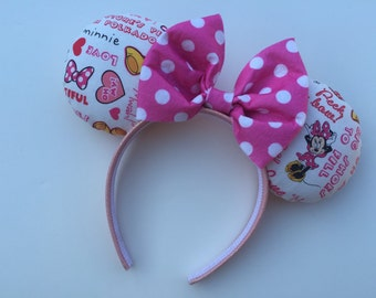 Pink and White Polkadot Minnie Mouse Ears