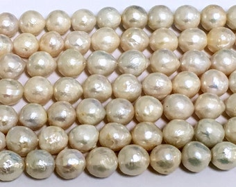 Baroque White Freshwater Pearl Beads - Round Baroque - Grade AAA Quality - Center Drilled - Pearl Size 9-12mm - 04 Pearls per Order