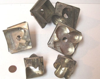 6 Vintage Tin Cookie Cutters Heart Spade Club Diamond Cut Outs for Crafts