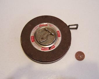 Evans White 50' Metal Retractable Measuring Tape Vintage