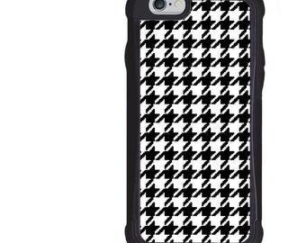 iPhone 5 5s 6 6s 6+ 6s+ SE 7 7+ iPod Touch 5 6 Phone Case, Black White Houndstooth Design, Plus