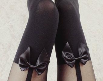 Black garter bow tights stockings pantyhose