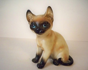 1950s Vintage Chocolate Point Siamese Kitty Cat Figurine