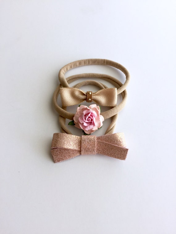 Baby Gift Gold : Rose gold bow set headband baby gift nylon