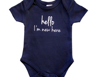 Hello I'm New Here Baby Bodysuit for Boys - Short Sleeve Navy Blue Organic Cotton Body Suit