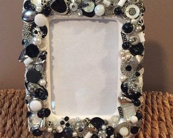 Black/white Embellished Picture Frame