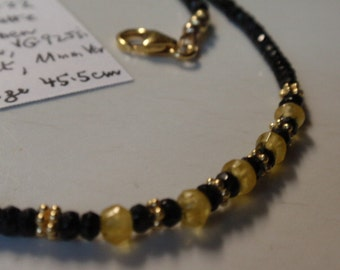 Black spinel  Necklace  with yellow saphire   (JK722)