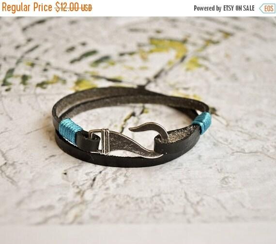 15 off black leather fish hook mens bracelet by for Mens fishing bracelet