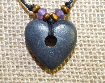 Stone Heart pendant hand carved rock pendant surfer jewelry rock necklace natural stone jewelry surfer heart necklace primitive heart