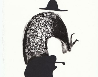 Solo No14. papercut, ink, primative, folk art