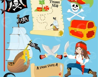 Pirate Clipart, Pirate Ship, Treasure Map, Treasure Chest and Skull and Cross Bones, Pirate Birthday, Commercial Use, AMB-175