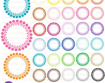 Fancy scalloped frames, round labels, embellishments, scalloped labels, commercial use, digital clip art, AMB-1143