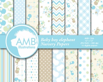 Nursery digital papers, Baby papers, Newborn papers, Nursery Pastel papers, elephant papers, commercial use, AMB-1366