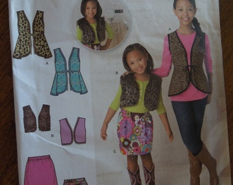 Simplicity 1786, sizes 3-6, childrens, girls, skirts and vests, UNCUT sewing pattern, craft supplies
