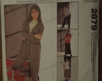McCalls 2879, sizes small to X-large, misses, womens, petite, UNCUT sewing pattern, craft supplies, unlined jacket, tops, pants and skirt