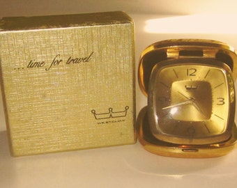 Vintage WESTCLOX TRAVEL ALARM -Wind-up Gold Face Compact Clock with Brush GoldTone Case Made in Germany-Original Box