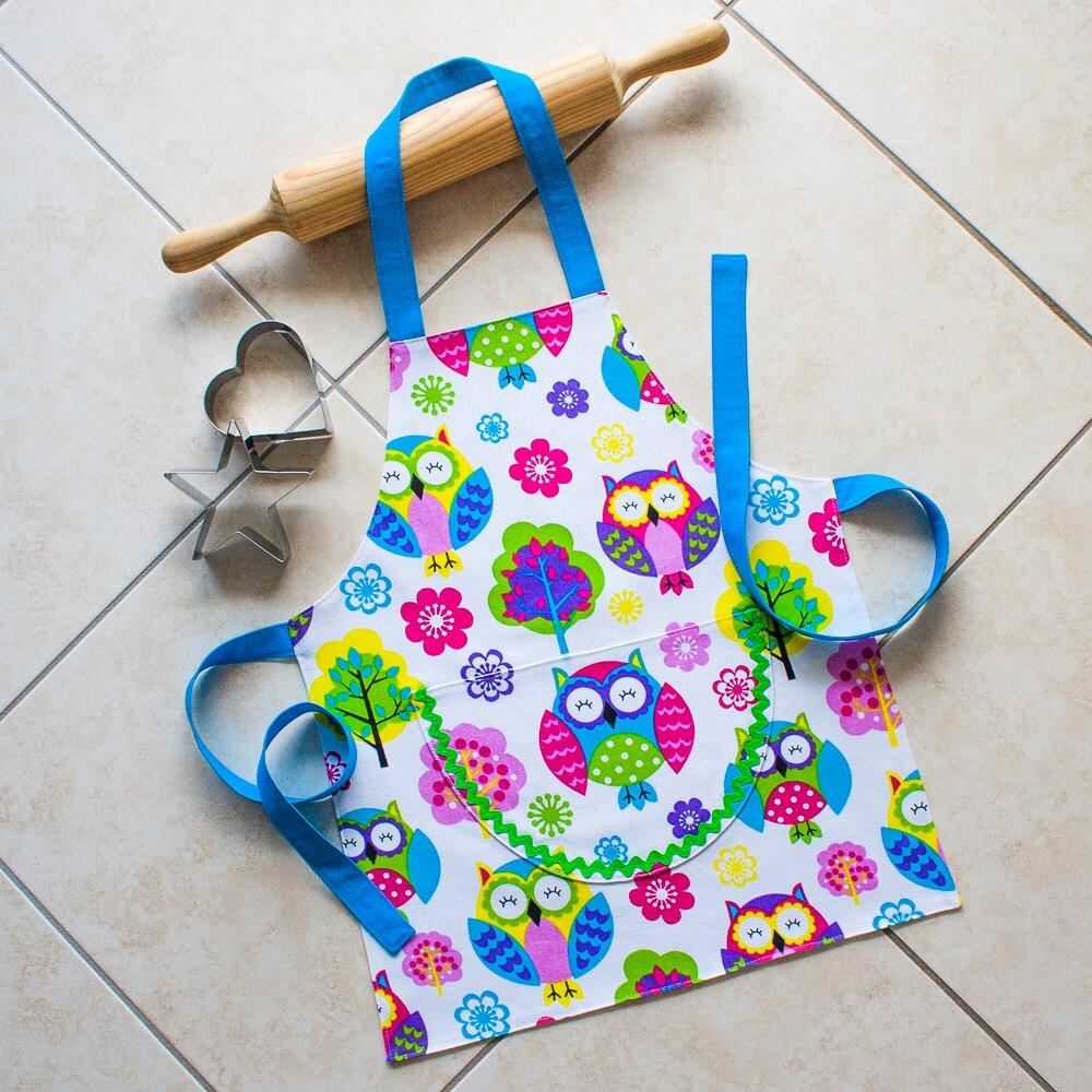Kids Apron Owl Boys & Girls Kitchen Baking Craft Art Play Owl