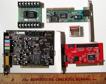 Circuit boards and parts for art and craft, five piece lot, steampunk geek supply, jewelry supply, red green black