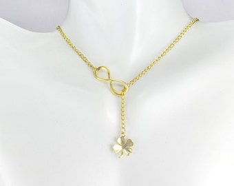 Four leaf clover Jewelry,Infinity Lariat Y necklace,shamrock necklace,Gold or Silver shamrock, Gift For Best Friend,  good luck necklace