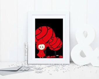 Red Riding Hood print, riding hood nursery, little red riding hood, printable art, nursery art, nursery decor, fairytale print
