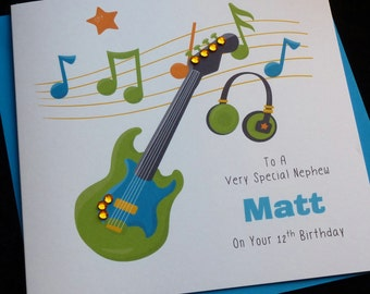 Handmade Personalised Boys Music, Guitar, Rock Theme Birthday Card