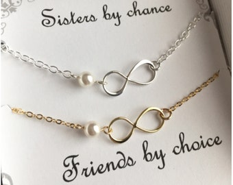 Infinity Bracelet Set - Message Card Optional - Gold Silver Infinity Jewelry - Two Bracelets with Pearl for Sister - Pearl Bracelet Infinity