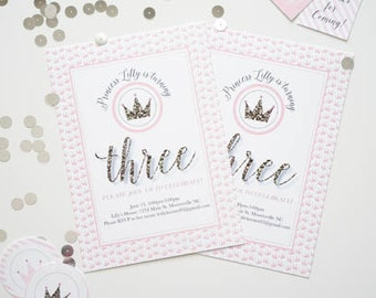 Pink and Gold Princess Party Printable, Princess Birthday Party, Customizable Printed Princess Birthday Invitation