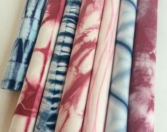 Red and Blue Shibori Fabrics