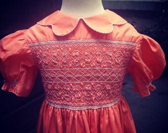 Vintage 1940/50s hand smocked girl's dress