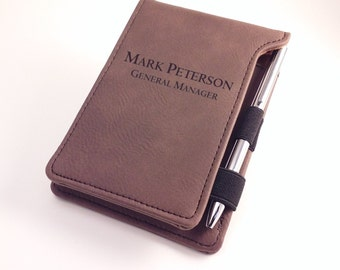 Personalized notepad and pen holder dark brown leatherette groomsmen gift