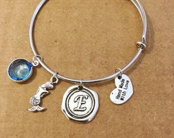 Mermaid bracelet with an aquamarine stone