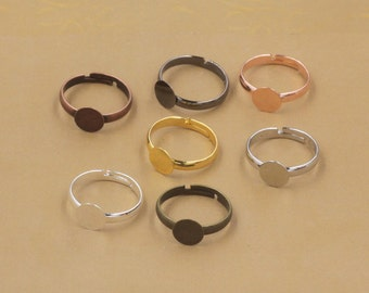 Jewelry rings findings, ring blanks,6mm pad,supports des bagues, bronze,silver,rose gold,yellow gold,bright silver,gun black available D4924