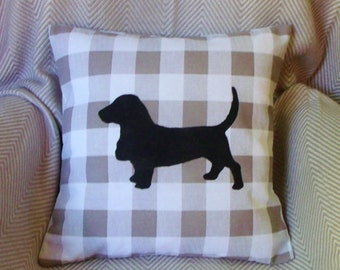 Basset Hound Dog silhouette cushion cover -- CLEARANCE