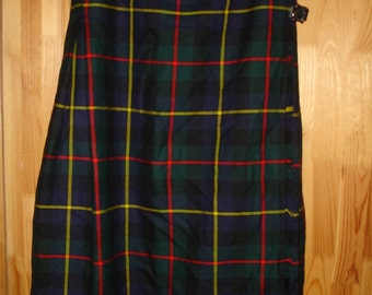 Kilt vintage plaid wool long  tartan wool skirt made in Scotland Clan Laird