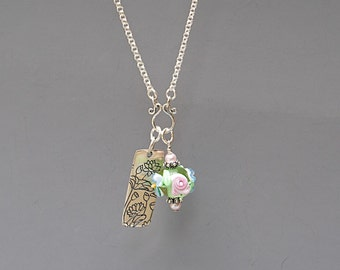Rose Necklace - Flower Necklace - Glass Bead Necklace - Green Necklace - Sterling Silver Necklace - Lampwork Jewelry - Gift for Her -