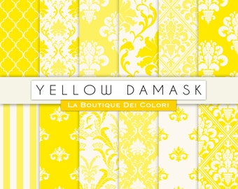 Cute Yellow damask digital paper. Yellow digital paper pack of damask yellow backgrounds patterns for commercial use clipart
