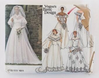 Vintage Vogue's Basic Design Pattern 1511 Wedding Dress Bridal Size 8 UNCUT